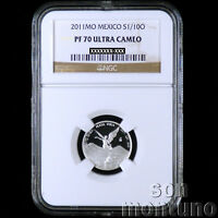NGC PF 70 ULTRA CAMEO - 2011 Mexico 1/10 TENTH OZ SILVER LIBERTAD PROOF COIN