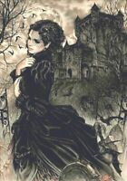 Lady in Black Counted Cross Stitch Kit - Fantasy - Goth - Castle - UK - DMC