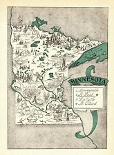 1930s Antique Animated MINNESOTA State Map RARE Picture Map  BLU 7139