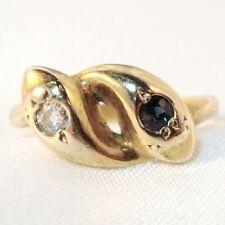 alter Schlangen Ring 585 Gold mit Diamant & Saphir bleuer Stein Safir / AU 293