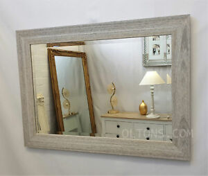 Marina Wood Frame Wall Mirror Whitewash Natural Finish Bevelled Glass 106x76cm