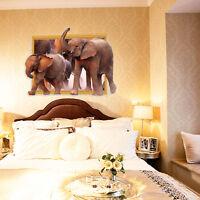 Wandtattoo Wandaufkleber 3D Fenster Elefant  Wohnzimmer-Schlafzimmer