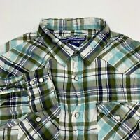 Old Navy Button Up Shirt Men's Large Long Sleeve Olive Blue White Plaid Cotton