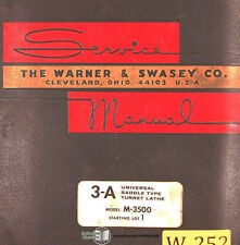 Warner Amp Swasey 2a 3a 4a Turret Lathe Operations And Parts 187 Page Manual 1965