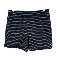 Speedo Mens Board Shorts Size XL Swim Shorts Black White Stripe Elastic Waist