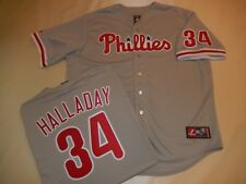 9601 MAJESTIC Philadelphia Phillies ROY HALLADAY SEWN Baseball Jersey GRAY New