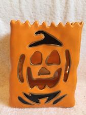 Blue Sky Goldminc Ceramic Jack-o-Lantern Halloween Tea Lite Candle Holder 2015
