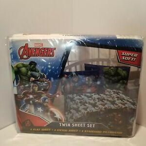 Marvel Avengers Heroic Age Blue/White 3 Piece Twin Sheet Set with Captain. NEW!