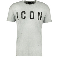 DSquared2 Black 'ICON' Distressed T-Shirt Grey