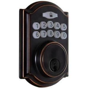 Defiant Aged Bronze Single Cylinder Electronic Keypad Keyless Deadbolt Door Lock