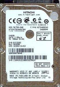 HTS547564A9E384 P/N: 0J15282  MLC: DA3896   HITACHI SATA 640GB