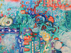 Intuitive abstract painting blue, orange contemporary by artist Joy Campbell
