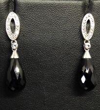 925 Sterling Silver Black Spinel & White Topaz Drop Earrings - BNIB Ref 77