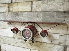 'Come Fly With Me' Distressed Red Metal Aeroplane Wall Clock with Shelf