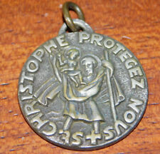 MEDAILLE St CHRISTOPHE Christopher Medal French Vintage Protect us PROTEGEZ NOUS