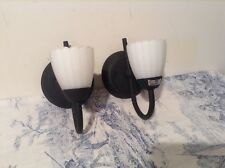 Pair French Wall Lights / Sconces, Glass Shades - Black & White (3126)