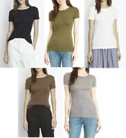 New  Vince Short Sleeve 70's Style Micro Ribbed Tee T-shirt Top XS S M L