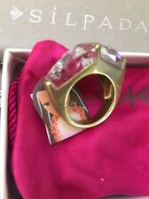 Silpada DUAL CRYSTAL RING Brass & Crystal KRR0126 NEW Size 8