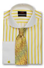 Dress Shirt Steven Land Trim & Classic Fit  French Cuff -Yellow/White-TW1738-YE