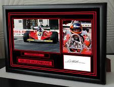 """Gilles Villeneuve Black Framed  Signed """"Great Gift"""""""