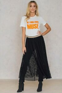 BY MALENE BIRGER BLACK FISH NET SEE THROUGH FLARE MAXI SKIRT LIDIIA-SIZE S