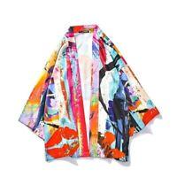 Men Kimono Jacket Coat Loose Printed Japanese Yukata Outerwear Cardigan Chic Top