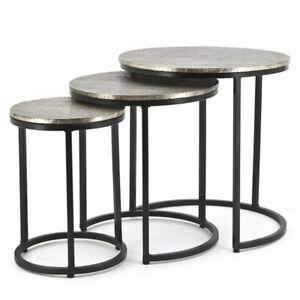 3er Beistelltisch Set TRAPEZE rund Tischset Anstelltisch Sofatisch Metall NEU