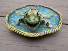 Ceramic Plate with colorful leopard frog