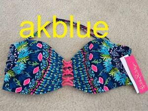 NWT Lilly Pulitzer Sandy Lattice Bandeau Bikini Swim Top Glow Flow Inky Navy 14