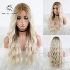 Light Blonde Wavy Curly Hair Wigs for Women Long Body Wave Ombre Synthetic Wig