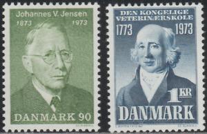 Denmak 1973 SC# 517, 519 - Cent. of J. V. Jensen - Prof. Abildgaard M-H Lot# 026