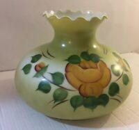 "Vintage Lamp Shade Milk Glass Hurricane Chimney Hand Painted 9 3/4"" Fitter Shade"
