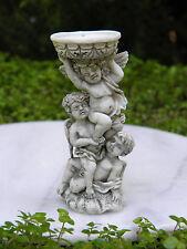 Miniature Dollhouse FAIRY GARDEN Accessories ~ Gray Cherub Angels Bird Bath
