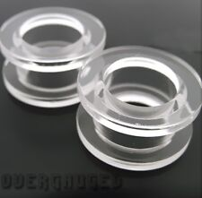 PAIR OF 0g 8MM CLEAR FLESH TUNNELS earlet plugs body jewelry PLUG TUNNEL