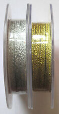 Silver or Gold Lame/Lurex Ribbon 5mtrs 3mm Wide