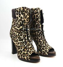 BRUNO MAGLI PEEP-TOE BOOTIES 100% LEATHER & PONY HAIR LEOPARD ITALY NEW SZ 7 #91
