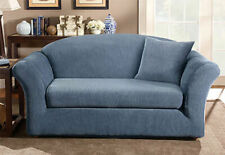 Sure Fit Loveseat Slipcover Stretch Madison Stripe Navy Blue Box Cushion Style