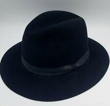 Fiorentino 100% Fur Felt Hat Made in Italy Black Grosgrain Ribbon Size L