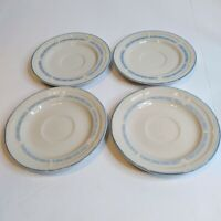 Vintage Set of 4 Tienshan Country Bear Saucers w/Embossed Blue Trim Off White 6""