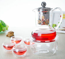 6in1 Tea Set- 500ml Glass Teapot w/ Stainless Steel Filter+4x Cups+ Round Warmer