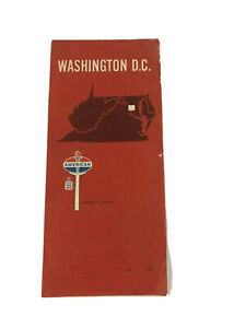 1967 Vtg American Oil Company Advertising Washinton DC Fold Out Travel Map  U8