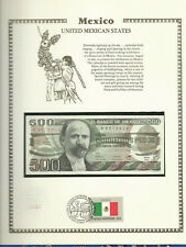 Mexico 1984 500 Pesos P79b Unc w/FDI Flag Stamp birthday 8012010