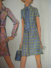 Vintage 60s McCalls 2256 SHORT DRESS FRONT BUTTON Sewing Pattern Women Sz 12.5
