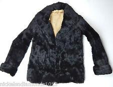 TRUE VINTAGE 1940'S WOMEN'S AUTHENTIC BLACK FUR JACKET / COAT SMALL 2-BUTTON