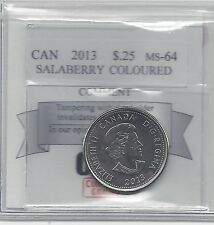 **2013 Salaberry Coloured**, Coin Mart Graded Canadian, 25 Cent, **MS-64**