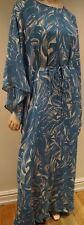 Tory Burch Blue & Cream Soie Tropical Imprimé Chauve-souris Belted Maxi Caftan Robe 4