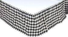 Black White Annie Buffalo Check Twin Gathered Cotton Bed Skirt Split Corners