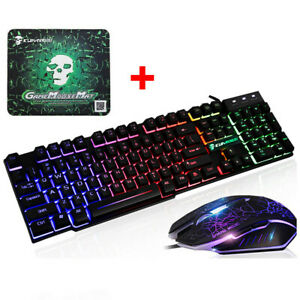 Backlit Gaming Keyboard And Mouse Set Rainbow LED wired USB For PS4 Xbox one PC