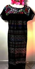 Mexico Black Dress Cotton Hand loomed & Embroidered Wedding L/XL Frida Ethnic