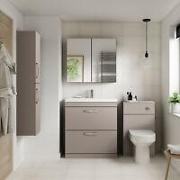 Athena Stone Grey Bathroom Furniture Vanity Cabinet Basin, Mirrors, Bath Panels